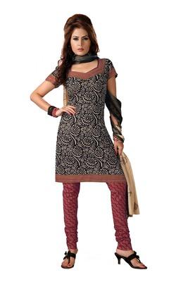 Cotton Bazaar Casual Wear Black & Pink Colored Cambric Cotton Salwar Kameez