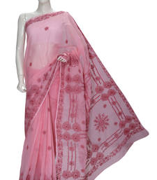 Buy Peach embroidered cotton saree with blouse cotton-saree online