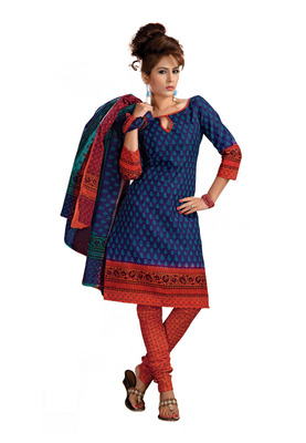 Cotton Bazaar Casual Wear Blue & orange Colored Cambric Cotton Salwar Kameez