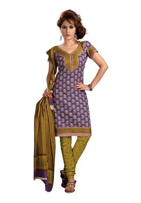 Cotton Bazaar Casual Wear Purple & Olive Colored Cambric Cotton Salwar Kameez