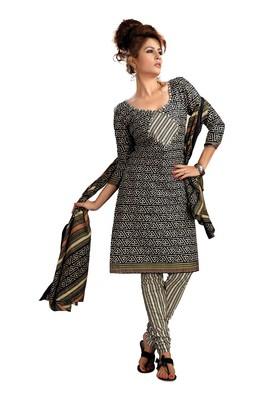 Cotton Bazaar Casual Wear Black & Cream Colored Cambric Cotton Salwar Kameez