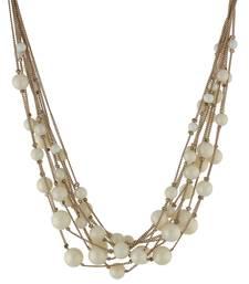 Buy Stylish and Elegant Cream Colour Beads Neckpiece Necklace online