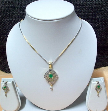 CZ Emerald Green Designer Pendant 005