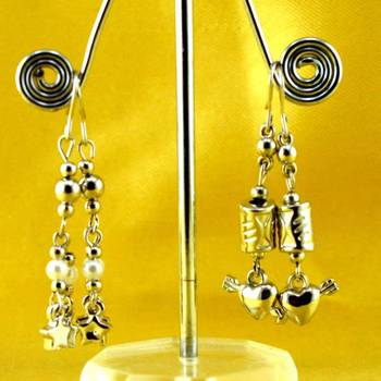 gold and silver platted moti beads stone earing
