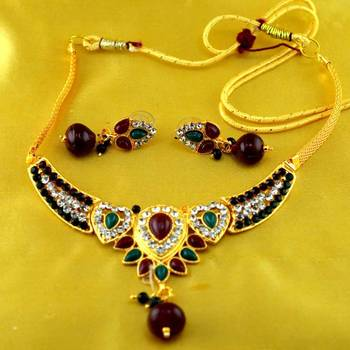 micro platted moti meenakari polki necklace with earing