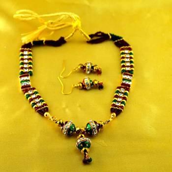 micro platted moti meenakari polki necklace with earing