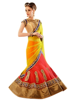 Yellow Stone Worked Net,Satin Lehenga Saree With Blouse