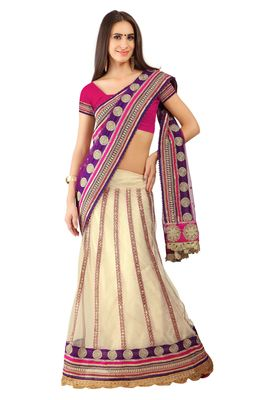 Off White Embroidered Net Lehenga Saree With Blouse
