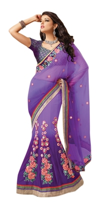 Purple Embroidered Net Lehenga Saree With Blouse