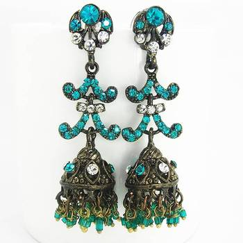 Victorian Black Finish Jhumki Emerald Aqua