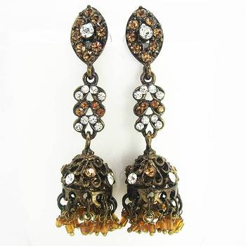 Victorian Black Finish Jhumki Dark Copper
