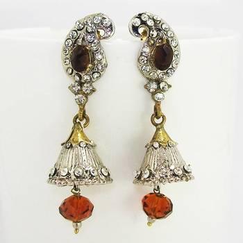 Victorian Drop Earring Silver Copper