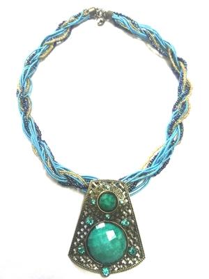 Gorgeous blue mala with stone studded pendant