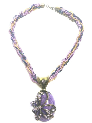 Colorful pendant with beads chain