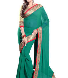 Buy Teal embroidered georgette saree with blouse ganpati-saree online