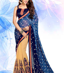 Buy Beige and Blue embroidered georgette saree with blouse wedding-saree online