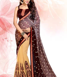 Buy Beige and Coffee embroidered georgette saree with blouse wedding-saree online
