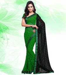 Buy Green printed georgette saree with blouse