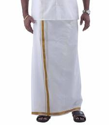 Buy Mens dhoti with gold boarder men-apparel online