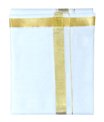 Mens dhoti with gold boarder