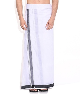 Mens dhoti with Black boarder