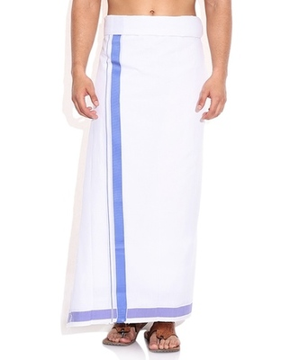 Mens Dhoti With Blue Boarder