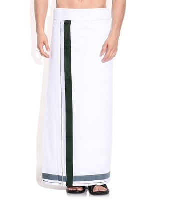 Mens dhoti with Bottle Green boarder