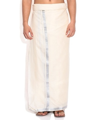 Mens Dhoti With Silver Boarder