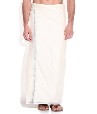 Mens dhoti with Silver border