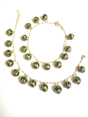 Green Pearl And Enamel Work Beads Anklet