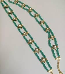 Buy torquoise golden kundan beads anklet anklet online
