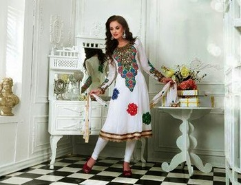 SPLUSHY OFF WHITE WITH DEEP GOLDEN ZARI EMBROIDERY ANARKALI SUIT