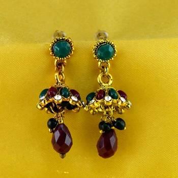 stone moti meenakari beads bali earing
