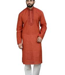 Buy rust cotton  kurta gifts-for-dad online