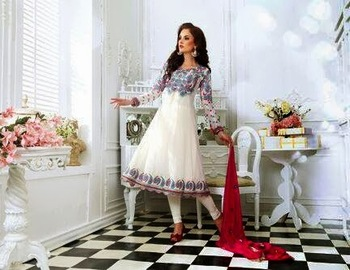 OFF WHITE WITH KAJU JHALAR ROUND KALI RED CASUAL ANARKALI SUIT