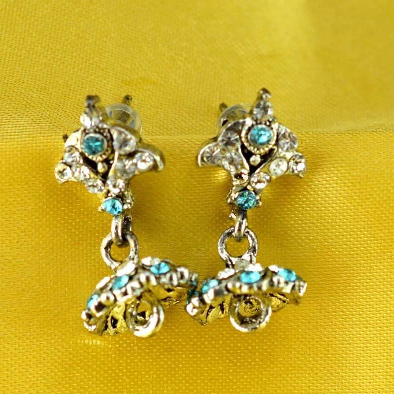 Kanjivaram Beads: Stone Moti Meenakari Beads Bali Earing
