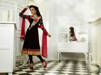 GORGEOUS BLACKCURRENT EMBROIDERY ANARKALI SUIT