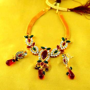 Gold Platted Stone Moti Meenakari Polki Cz Necklaces With Earing