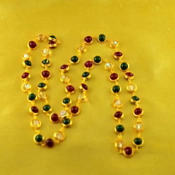 "polki kundun gold platted moti mala size-26""inch"
