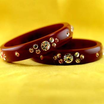 rajasthani acrylic plastic maroon colour bangal size-2.4,2.6,2.8