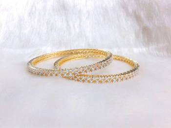 TINY ROUND SHAPE CZ STONES STUDDED KADA GLITTERING BANGLE PAIR