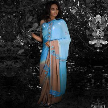 Concept: Spliced Crochet Saree | Sky Blue and Light Brown