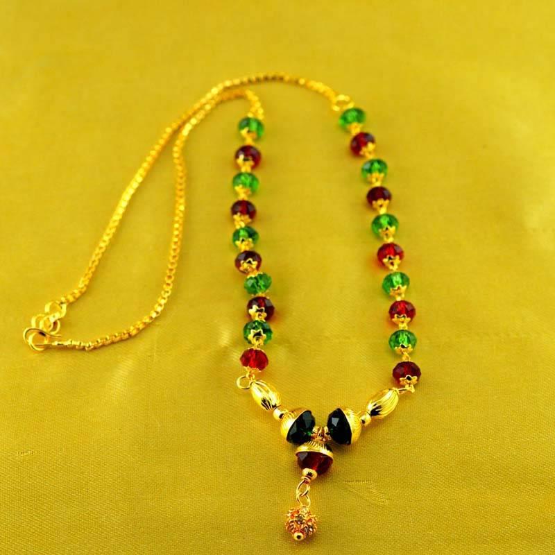 "Kanjivaram Beads: Beads Polki Kundun Moti Mala Size-17""inch"