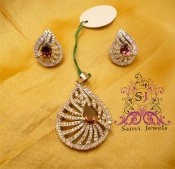 Rhodolite American diamond Set