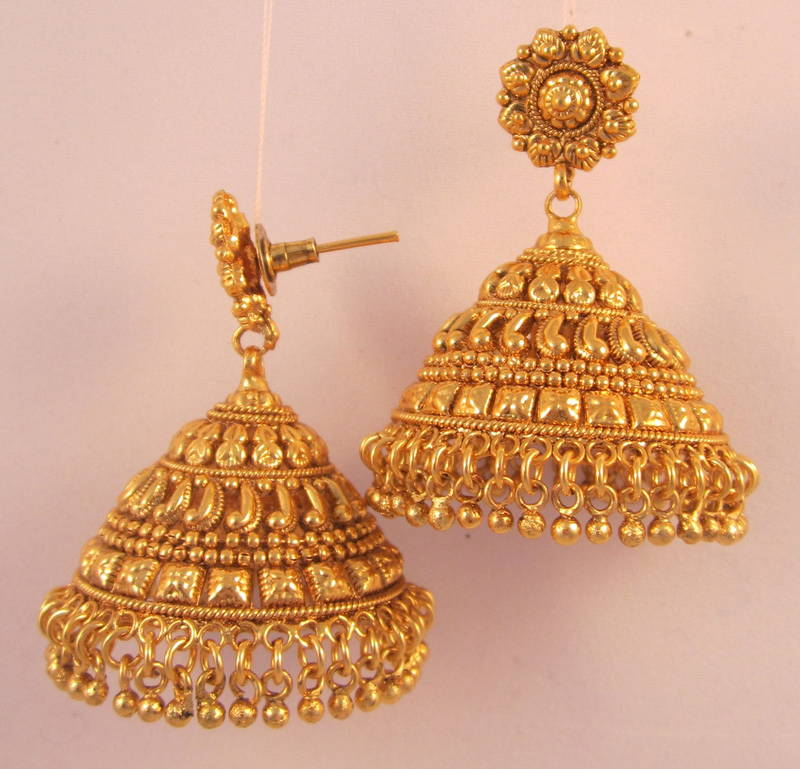 Earrings Jhumka Chandelier Gold Plated Temple Jewellery