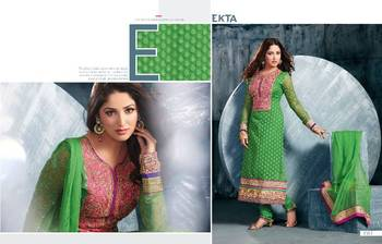 MESMERIZING BEAUTIFULLY GREEN AND PINK EMBROIDERY  ANARKALI SUIT