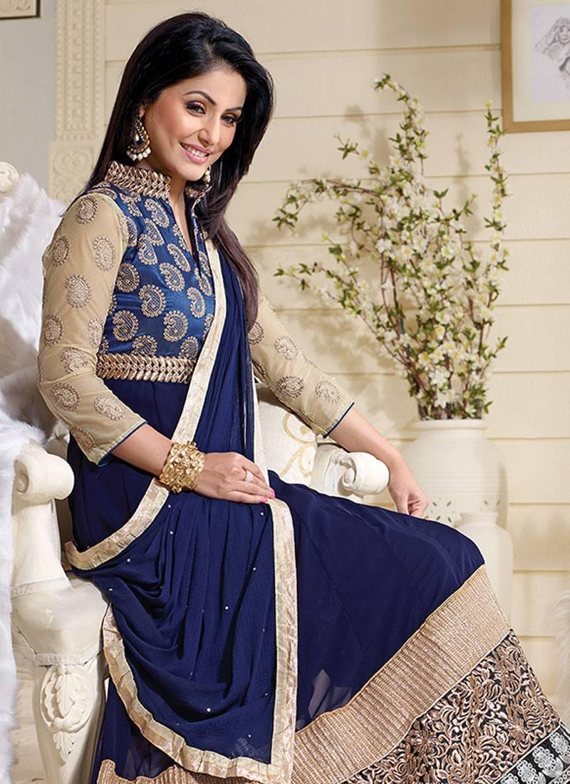 32f7e26ea4 Styles Closet Navy blue georgette semi-stitched salwar with dupatta ...
