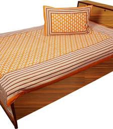 Buy dark orange and brown printed cotton bed-sheets bed-sheet online