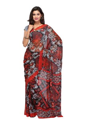 Fabdeal Red & Black Colored Chiffon Saree With Unstiched Blouse