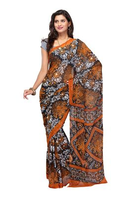 Fabdeal Light Brown & Black Colored Chiffon Saree With Unstiched Blouse